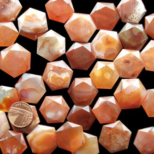 Carnelian Crystal Flat Faceted Worry Stone